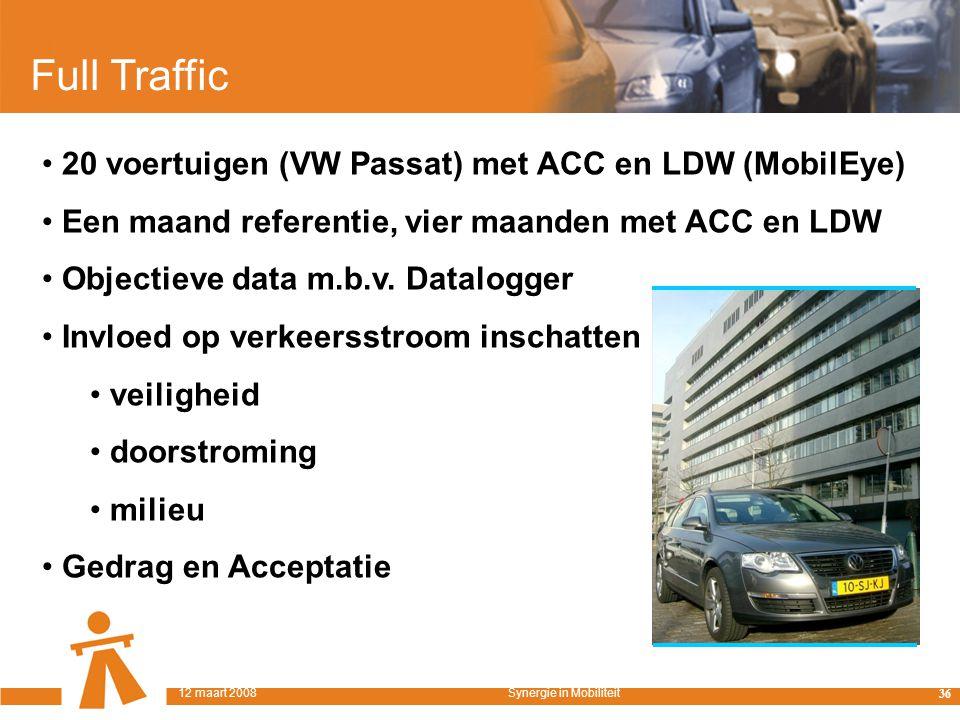 Full Traffic 20 voertuigen (VW Passat) met ACC en LDW (MobilEye) Een maand referentie, vier maanden met ACC en LDW Objectieve data m.b.v.