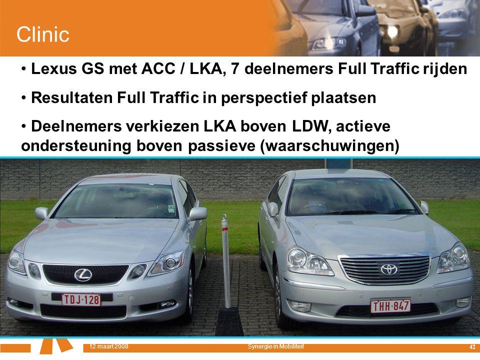 12 maart 2008Symposium Synergie in Mobiliteit, Universiteit Twente Clinic Lexus GS met ACC / LKA, 7 deelnemers Full Traffic rijden Resultaten Full Traffic in perspectief plaatsen Deelnemers verkiezen LKA boven LDW, actieve ondersteuning boven passieve (waarschuwingen) 42 12 maart 2008Synergie in Mobiliteit
