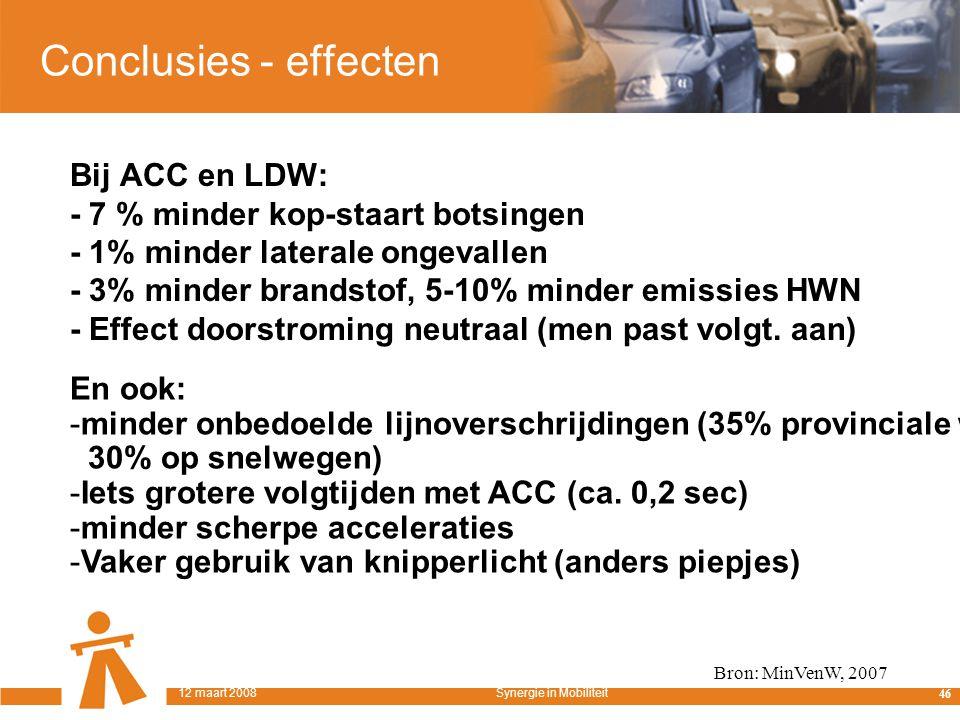 Conclusies - effecten Bij ACC en LDW: - 7 % minder kop-staart botsingen - 1% minder laterale ongevallen - 3% minder brandstof, 5-10% minder emissies HWN - Effect doorstroming neutraal (men past volgt.