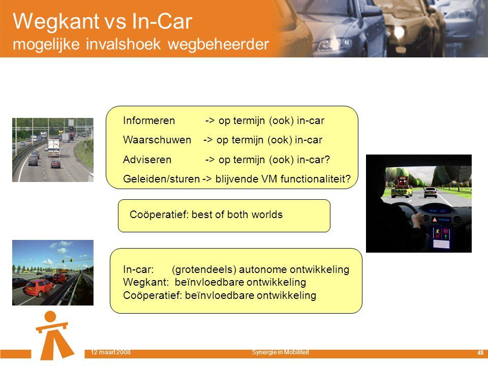 Wegkant vs In-Car mogelijke invalshoek wegbeheerder Informeren -> op termijn (ook) in-car Waarschuwen -> op termijn (ook) in-car Adviseren -> op termijn (ook) in-car.