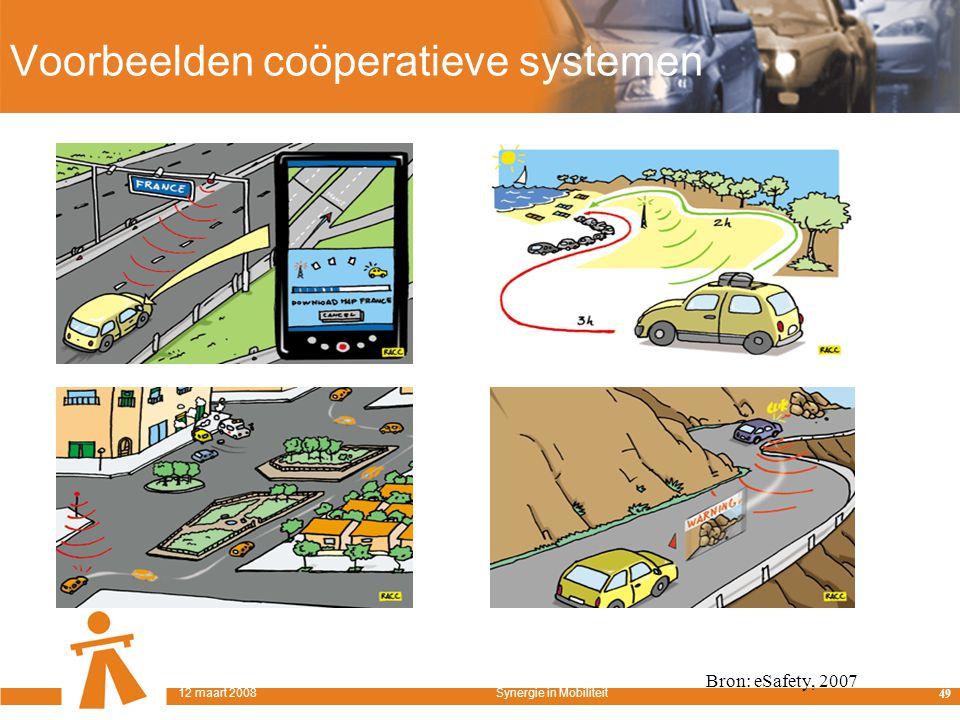 Voorbeelden coöperatieve systemen Bron: eSafety, 2007 49 12 maart 2008Synergie in Mobiliteit