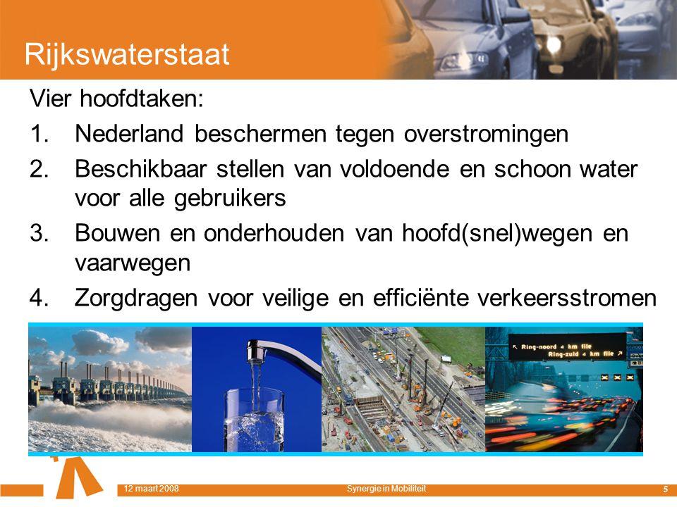 Rijkswaterstaat Vier hoofdtaken: 1. Nederland beschermen tegen overstromingen 2.