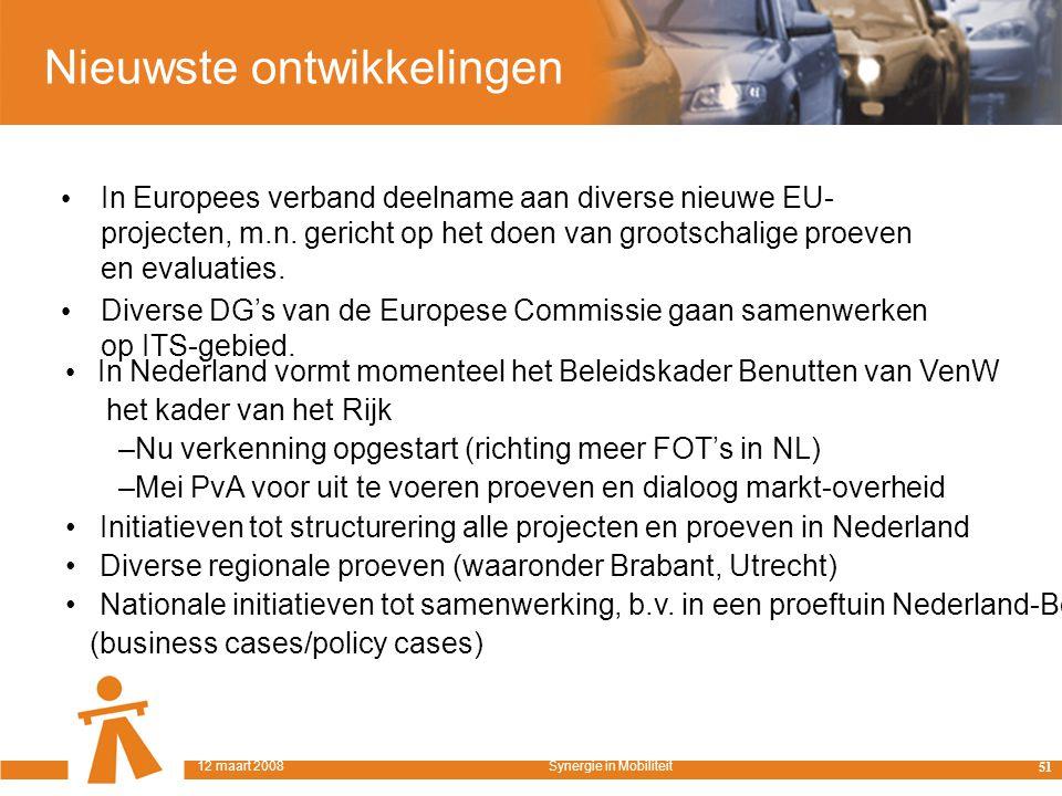Nieuwste ontwikkelingen In Europees verband deelname aan diverse nieuwe EU- projecten, m.n.