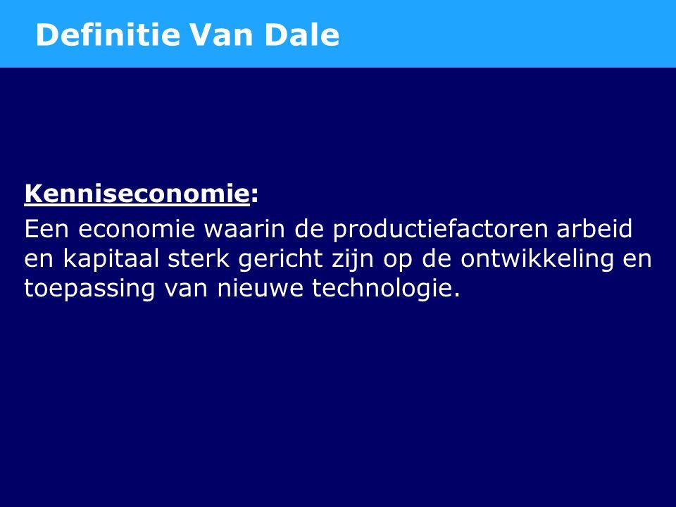 Kenniseconomie: Een economie waarin de productiefactoren arbeid en kapitaal sterk gericht zijn op de ontwikkeling en toepassing van nieuwe technologie.
