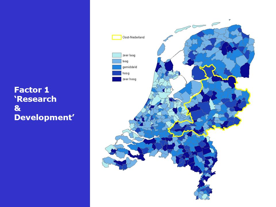 Factor 1 'Research & Development' Bron: Ruimtelijk Planbureau, 2005