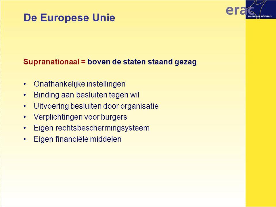 De Europese Unie Supranationaal = boven de staten staand gezag Onafhankelijke instellingen Binding aan besluiten tegen wil Uitvoering besluiten door o