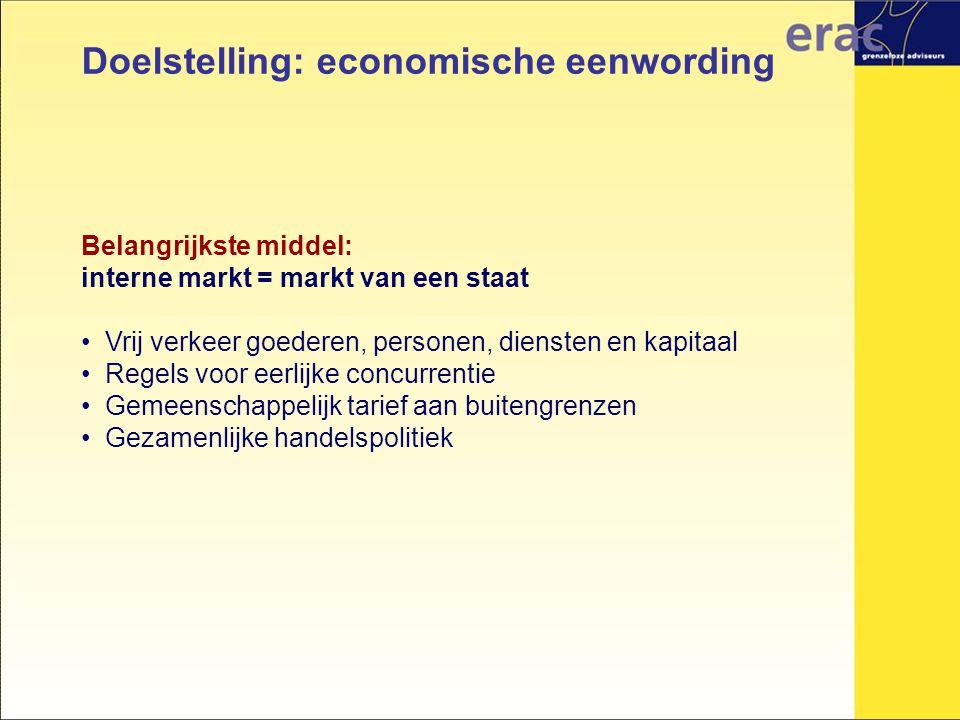 Doelstelling: economische eenwording Belangrijkste middel: interne markt = markt van een staat Vrij verkeer goederen, personen, diensten en kapitaal R
