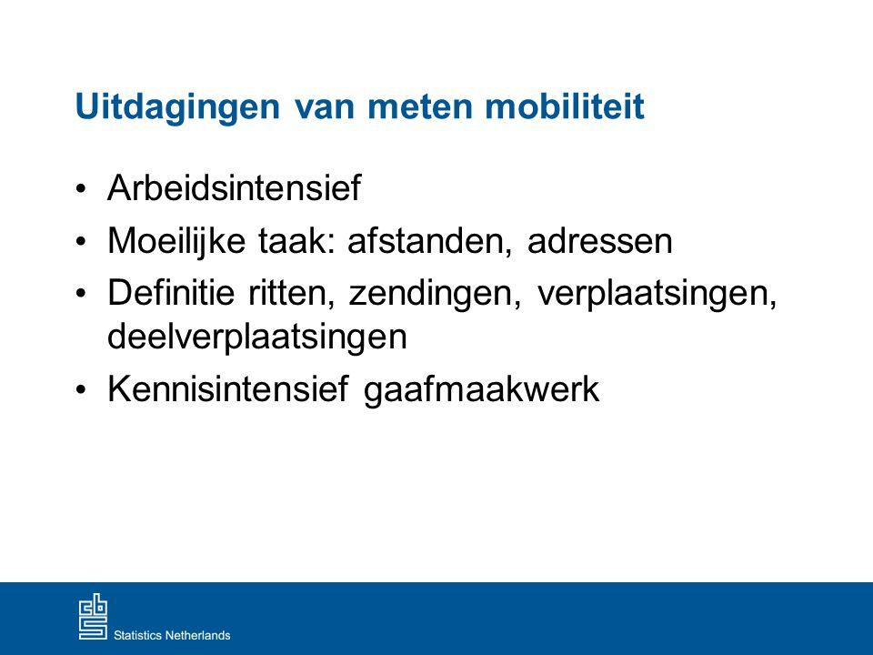 Uitdagingen van meten mobiliteit Arbeidsintensief Moeilijke taak: afstanden, adressen Definitie ritten, zendingen, verplaatsingen, deelverplaatsingen
