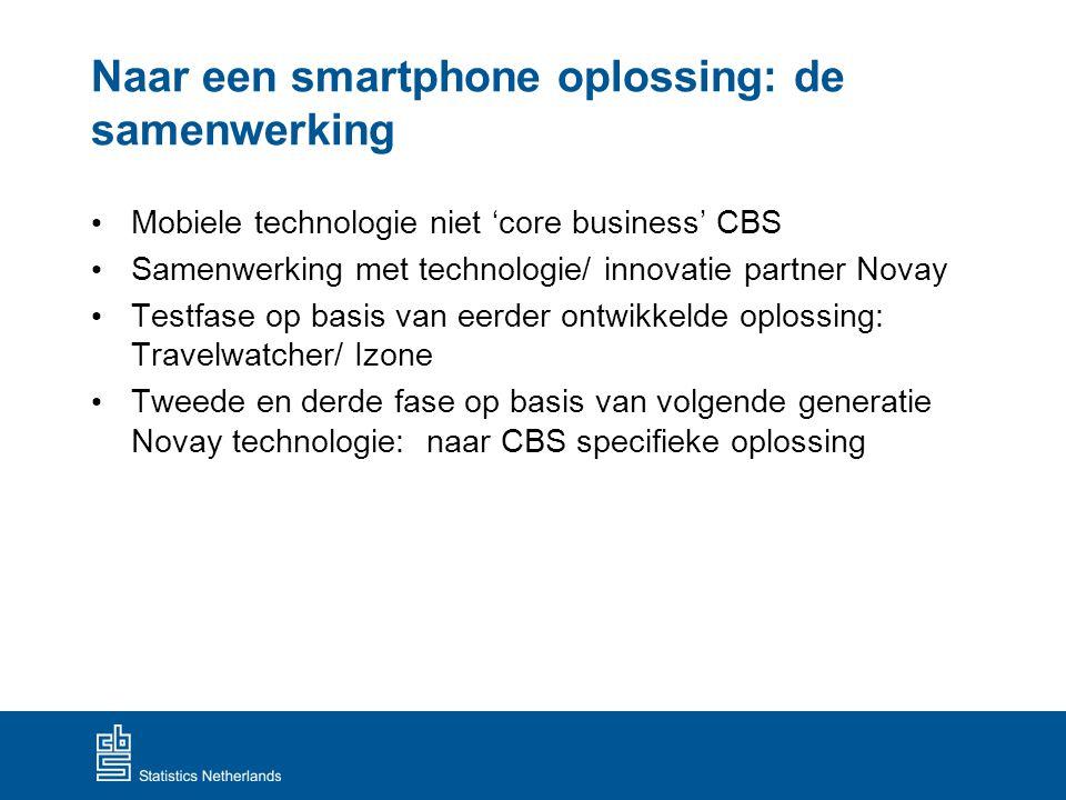Naar een smartphone oplossing: de samenwerking Mobiele technologie niet 'core business' CBS Samenwerking met technologie/ innovatie partner Novay Test