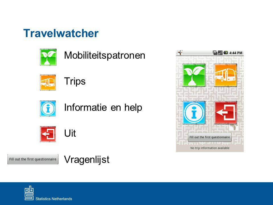 Travelwatcher Mobiliteitspatronen Trips Informatie en help Uit Vragenlijst