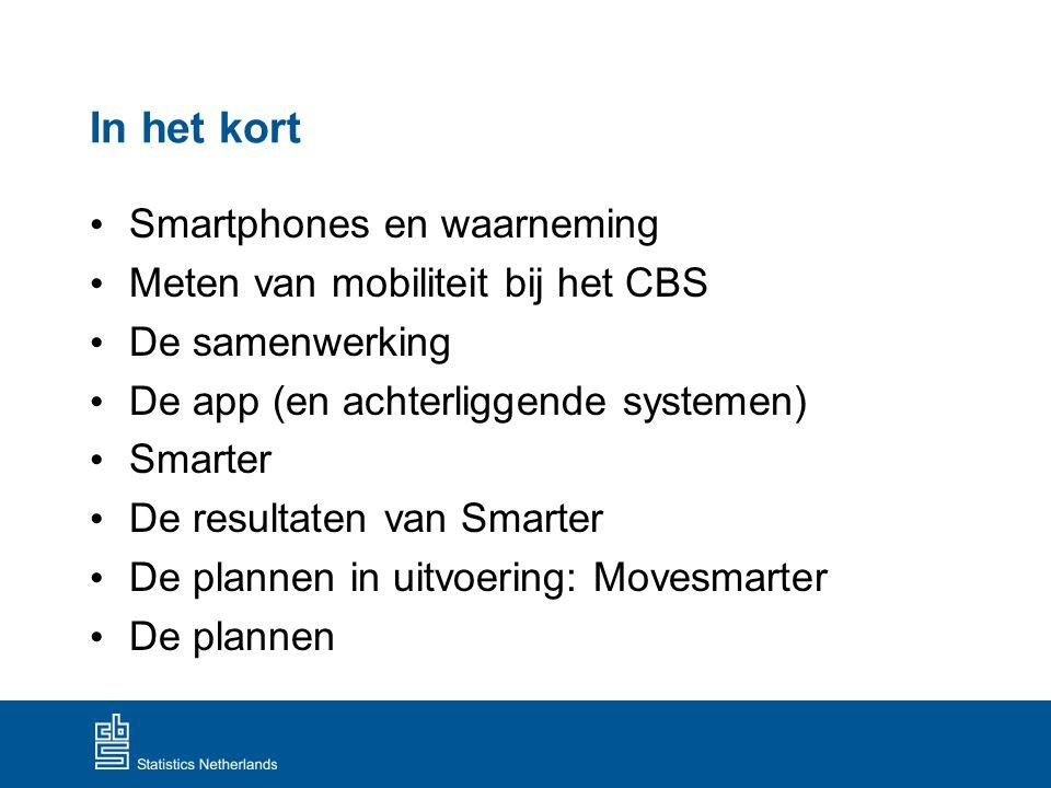 In het kort Smartphones en waarneming Meten van mobiliteit bij het CBS De samenwerking De app (en achterliggende systemen) Smarter De resultaten van S