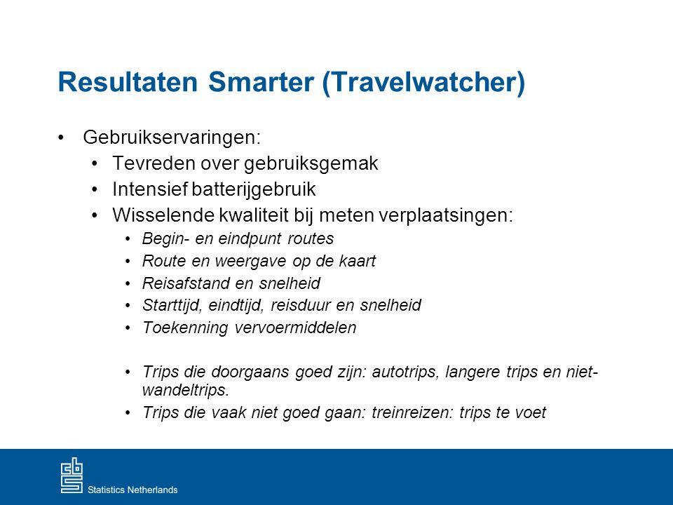 Resultaten Smarter (Travelwatcher) Gebruikservaringen: Tevreden over gebruiksgemak Intensief batterijgebruik Wisselende kwaliteit bij meten verplaatsi