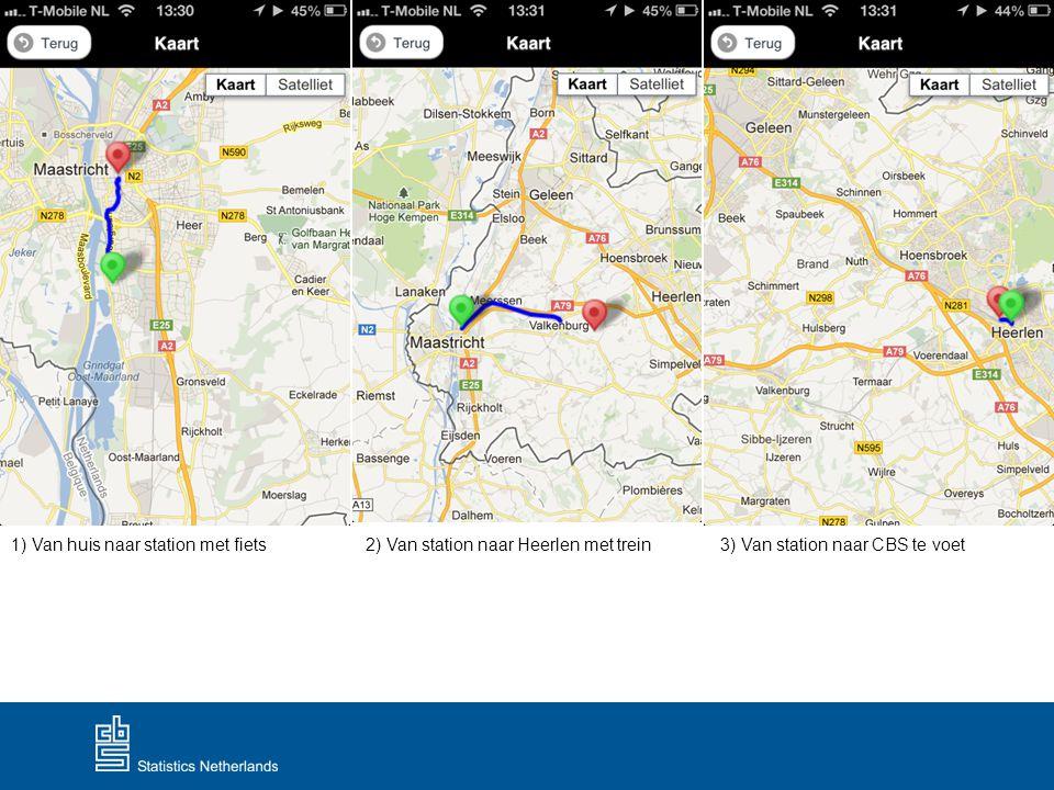 1) Van huis naar station met fiets2) Van station naar Heerlen met trein3) Van station naar CBS te voet