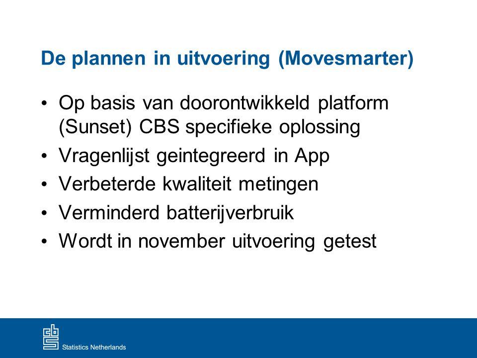 De plannen in uitvoering (Movesmarter) Op basis van doorontwikkeld platform (Sunset) CBS specifieke oplossing Vragenlijst geintegreerd in App Verbeter
