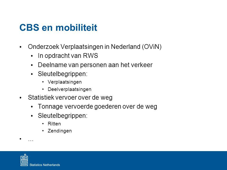CBS en mobiliteit Onderzoek Verplaatsingen in Nederland (OViN) In opdracht van RWS Deelname van personen aan het verkeer Sleutelbegrippen: Verplaatsin
