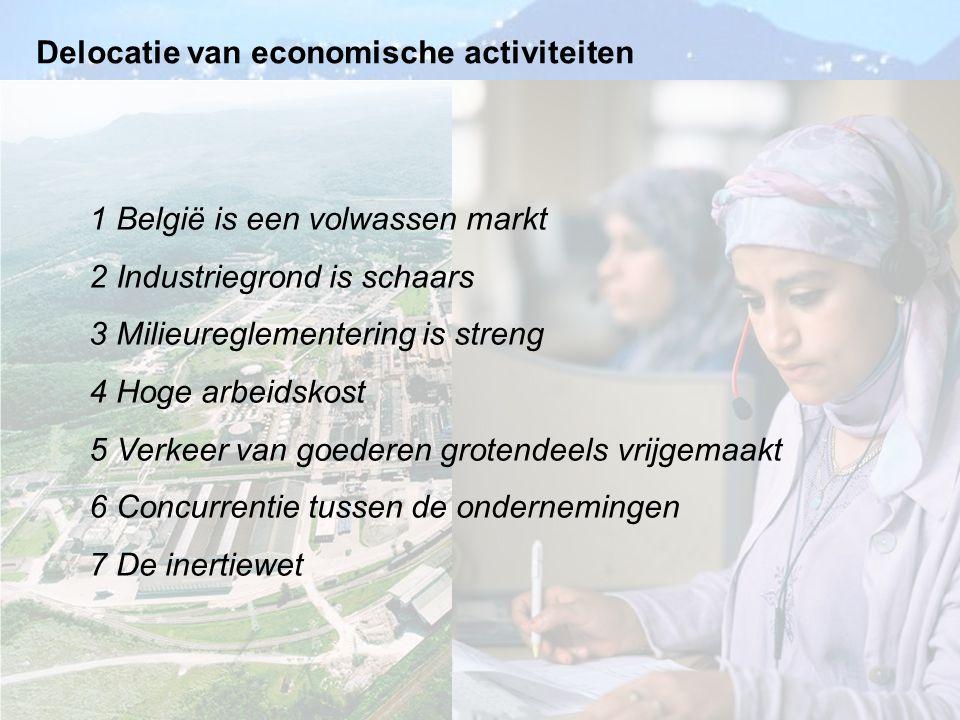 Delocatie van economische activiteiten 1 België is een volwassen markt 2 Industriegrond is schaars 3 Milieureglementering is streng 4 Hoge arbeidskost
