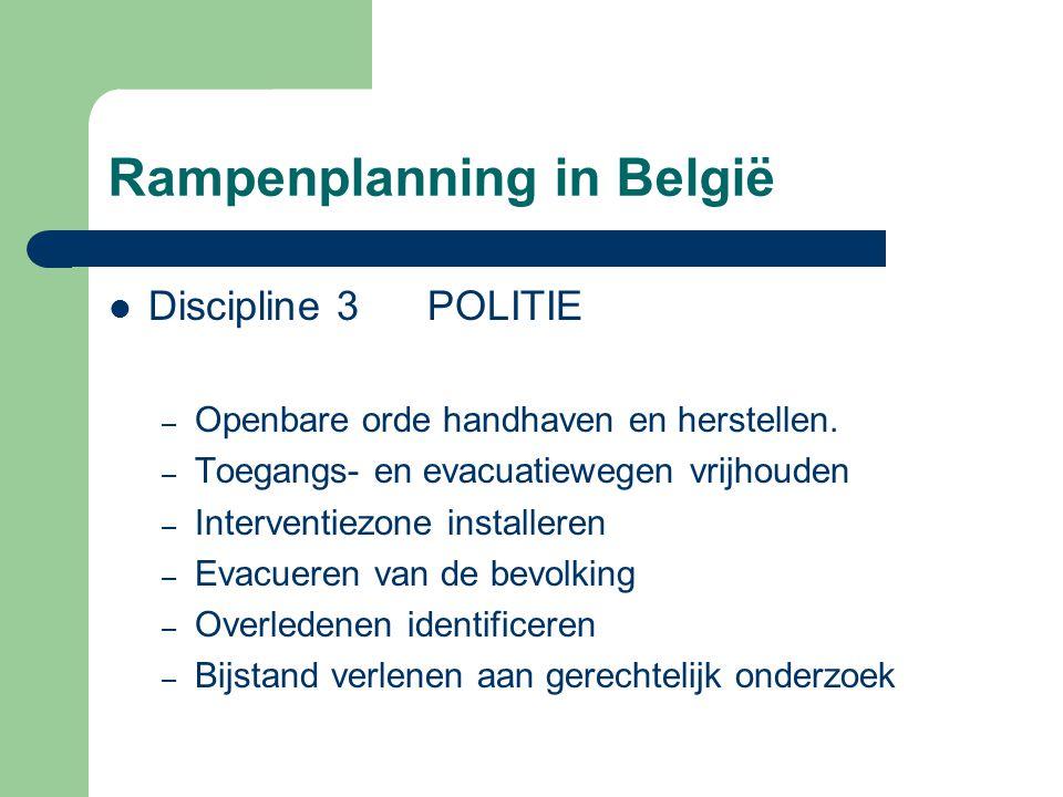 Rampenplanning in België Discipline 3 POLITIE – Openbare orde handhaven en herstellen. – Toegangs- en evacuatiewegen vrijhouden – Interventiezone inst