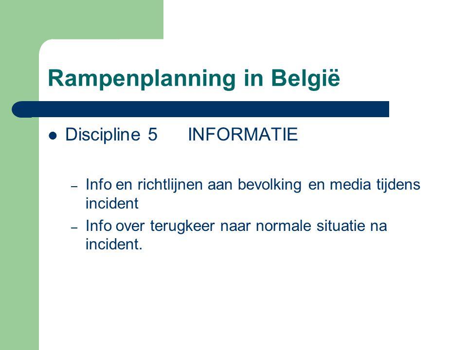 Rampenplanning in België Discipline 5 INFORMATIE – Info en richtlijnen aan bevolking en media tijdens incident – Info over terugkeer naar normale situ