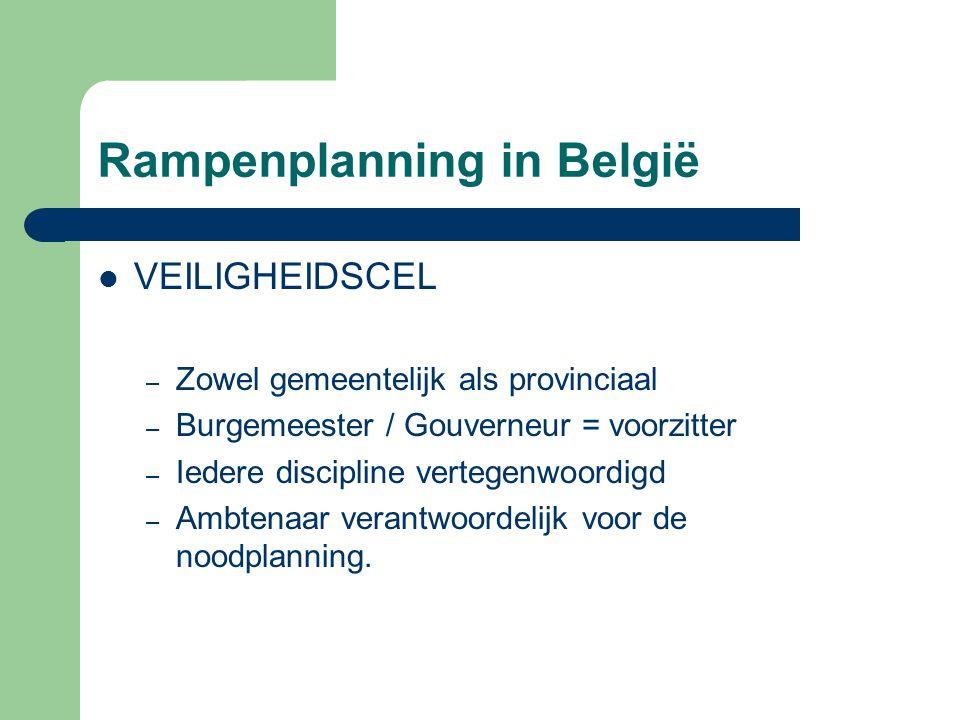 Rampenplanning in België VEILIGHEIDSCEL – Zowel gemeentelijk als provinciaal – Burgemeester / Gouverneur = voorzitter – Iedere discipline vertegenwoor
