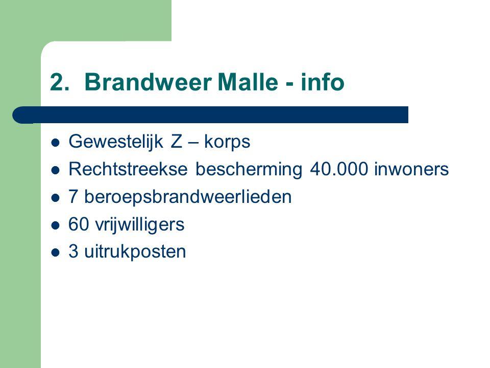 2. Brandweer Malle - info Gewestelijk Z – korps Rechtstreekse bescherming 40.000 inwoners 7 beroepsbrandweerlieden 60 vrijwilligers 3 uitrukposten