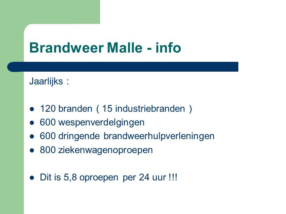 Brandweer Malle - info Jaarlijks : 120 branden ( 15 industriebranden ) 600 wespenverdelgingen 600 dringende brandweerhulpverleningen 800 ziekenwagenop