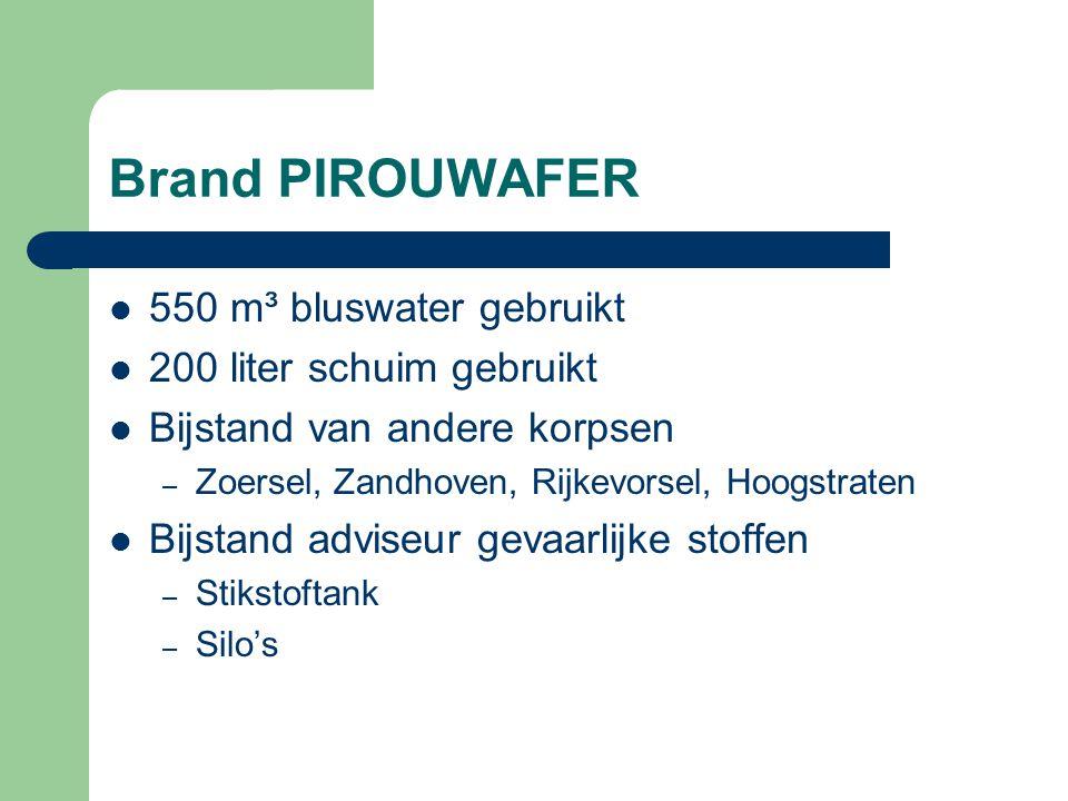 Brand PIROUWAFER 550 m³ bluswater gebruikt 200 liter schuim gebruikt Bijstand van andere korpsen – Zoersel, Zandhoven, Rijkevorsel, Hoogstraten Bijsta