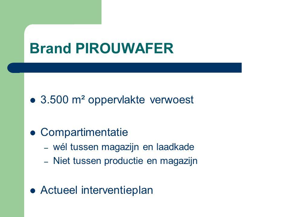 Brand PIROUWAFER 3.500 m² oppervlakte verwoest Compartimentatie – wél tussen magazijn en laadkade – Niet tussen productie en magazijn Actueel interven
