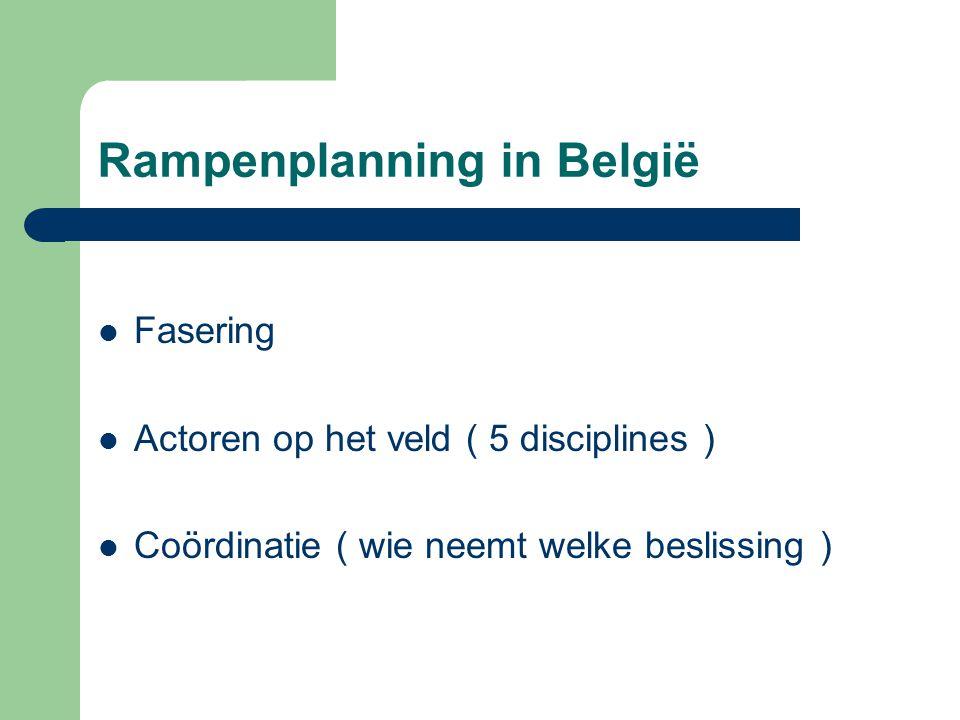 Rampenplanning in België 3 Fases – Gemeentelijke fase ( Burgemeester ) – Provinciale fase ( Gouveneur ) – Federale fase ( Minister BiZa )