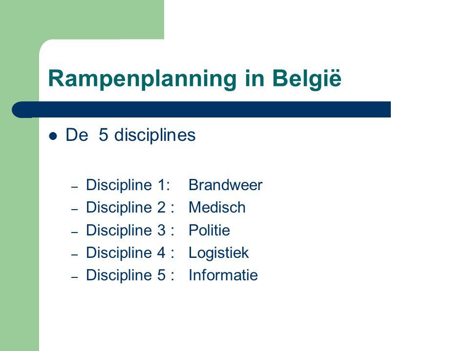 Rampenplanning in België De 5 disciplines – Discipline 1:Brandweer – Discipline 2 : Medisch – Discipline 3 : Politie – Discipline 4 : Logistiek – Disc