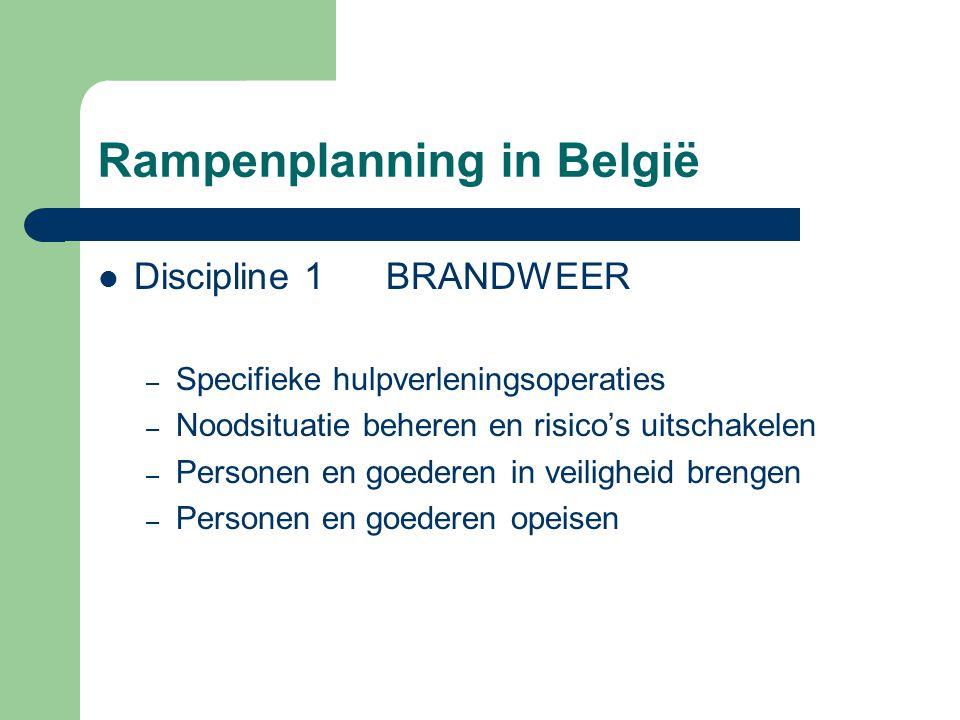 Rampenplanning in België Discipline 1BRANDWEER – Specifieke hulpverleningsoperaties – Noodsituatie beheren en risico's uitschakelen – Personen en goed