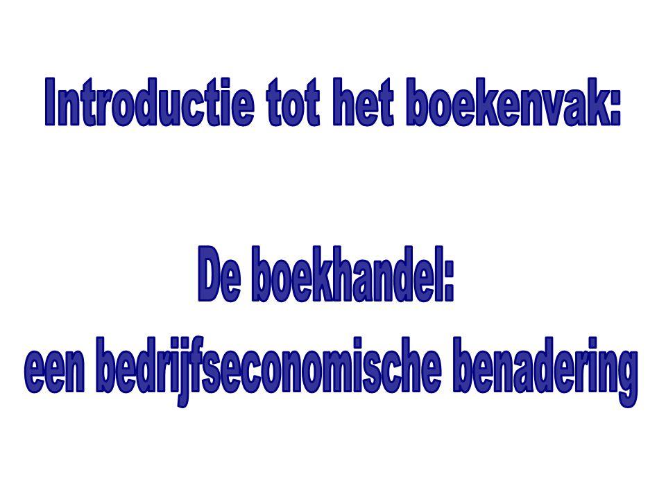 'Introductie tot het boekenvak: de boekhandel, een bedrijfseconomische benadering' Inleiding 1.Locatie, locatie, locatie… 2.Het assortiment 3.De exploitatierekening 4.Strategische keuzes 5.Evoluties – uitdagingen – zekerheden… De boekenverkoop in Vlaanderen.