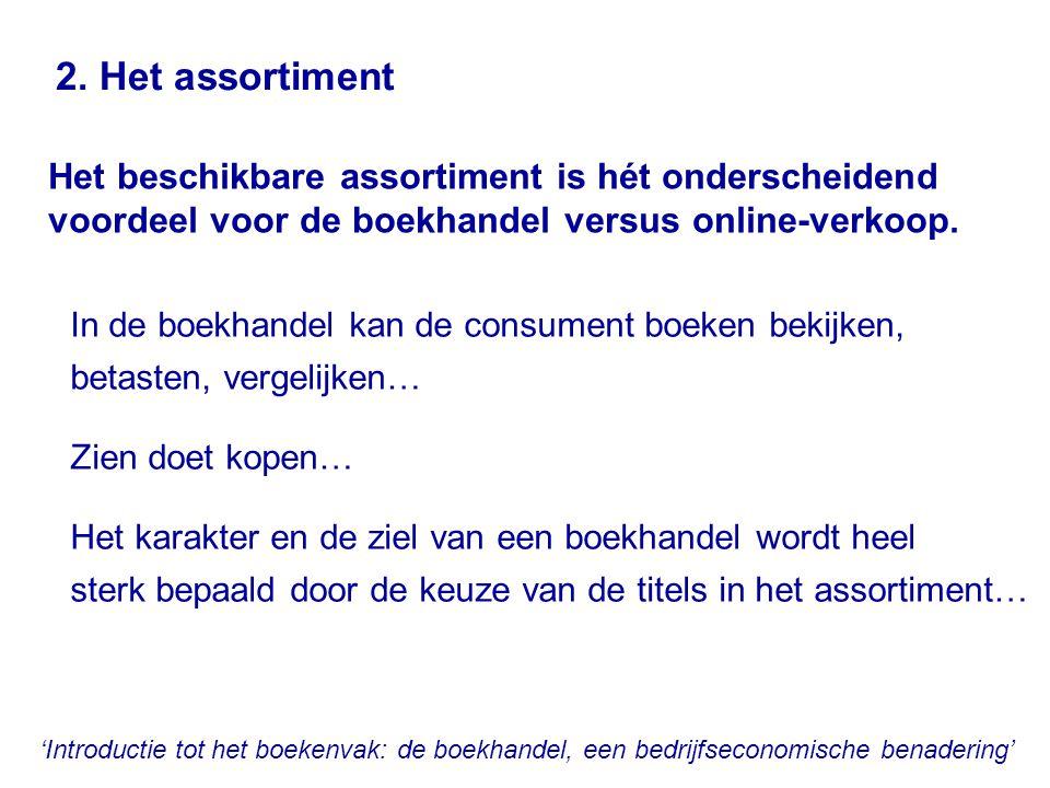 'Introductie tot het boekenvak: de boekhandel, een bedrijfseconomische benadering' 2. Het assortiment In de boekhandel kan de consument boeken bekijke