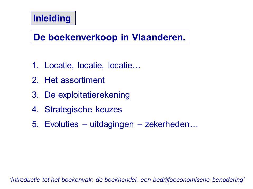 'Introductie tot het boekenvak: de boekhandel, een bedrijfseconomische benadering' De verkoop van boeken in Vlaanderen verloopt via: - de boekhandel - 'branchevreemde' kanalen - online-aanbieders - boekenbeurzen - boekenclubs - uitgevers