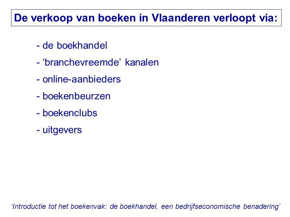 'Introductie tot het boekenvak: de boekhandel, een bedrijfseconomische benadering' De verkoop van boeken in Vlaanderen verloopt via: - de boekhandel -