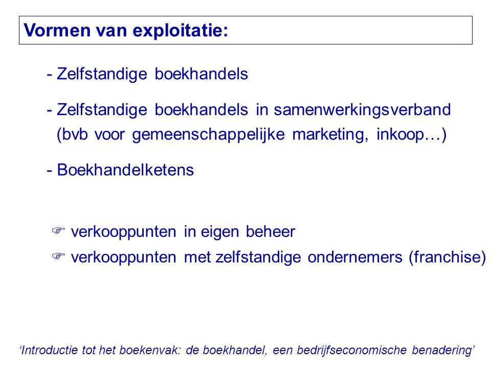 'Introductie tot het boekenvak: de boekhandel, een bedrijfseconomische benadering' Vormen van exploitatie: - Zelfstandige boekhandels - Zelfstandige b