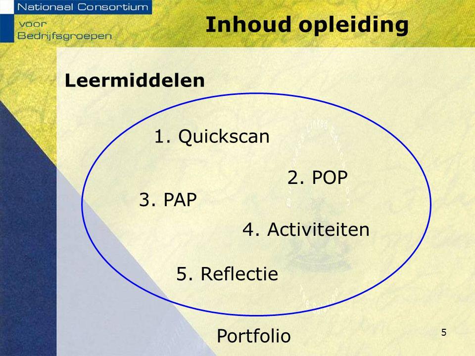 5 1. Quickscan Portfolio 2. POP 4. Activiteiten 3. PAP 5. Reflectie Leermiddelen Inhoud opleiding