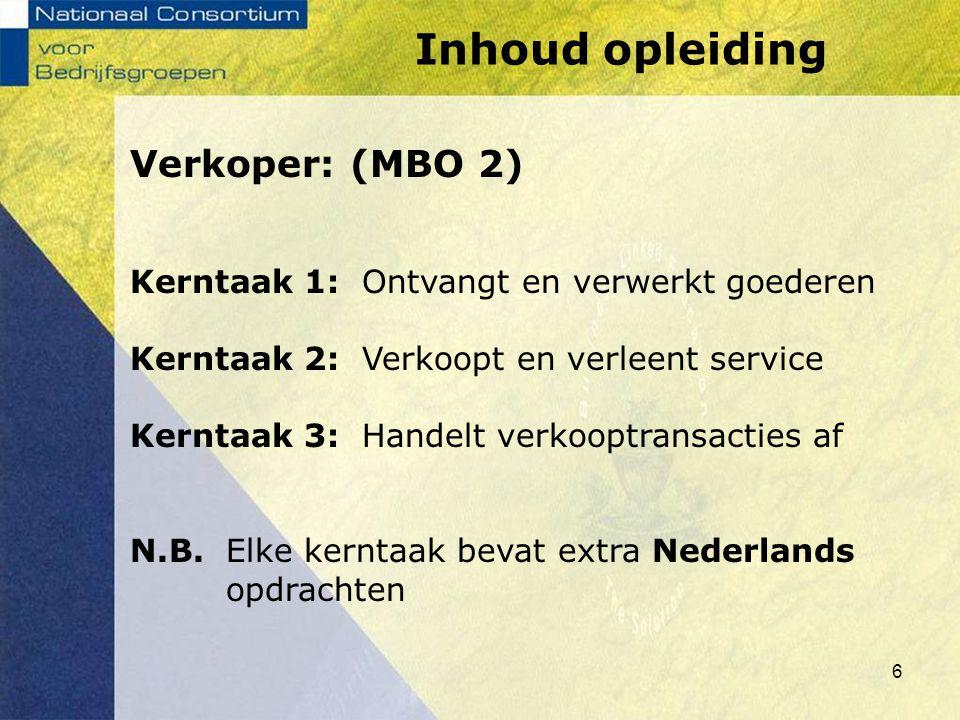 6 Verkoper: (MBO 2) Kerntaak 1: Ontvangt en verwerkt goederen Kerntaak 2: Verkoopt en verleent service Kerntaak 3: Handelt verkooptransacties af N.B.