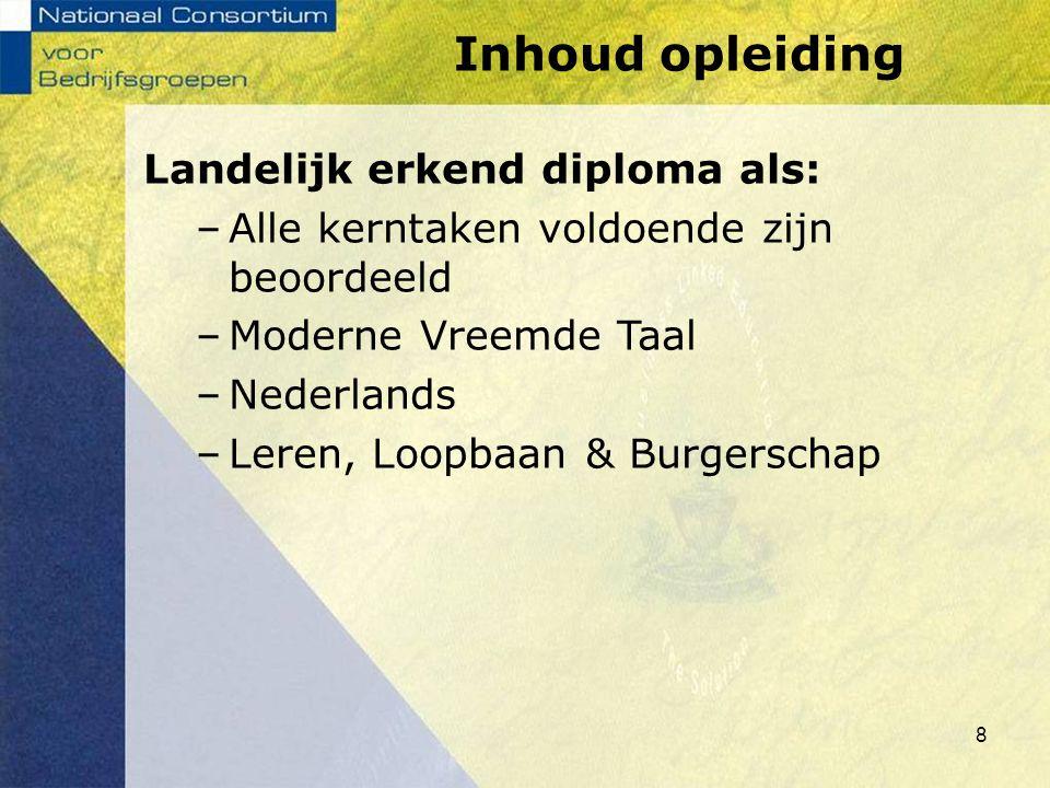 Landelijk erkend diploma als: –Alle kerntaken voldoende zijn beoordeeld –Moderne Vreemde Taal –Nederlands –Leren, Loopbaan & Burgerschap Inhoud opleid