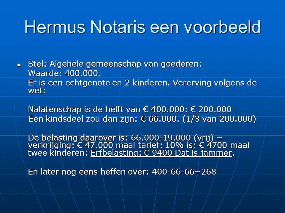 Hermus Notaris een voorbeeld Stel: Algehele gemeenschap van goederen: Stel: Algehele gemeenschap van goederen: Waarde: 400.000. Er is een echtgenote e