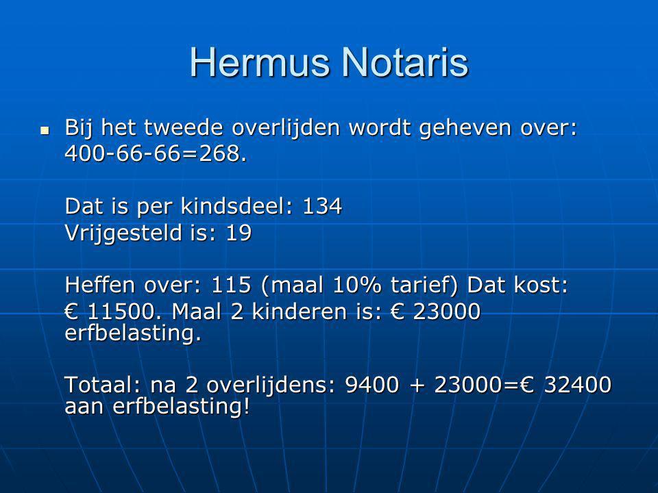 Hermus Notaris Bij het tweede overlijden wordt geheven over: Bij het tweede overlijden wordt geheven over:400-66-66=268. Dat is per kindsdeel: 134 Vri