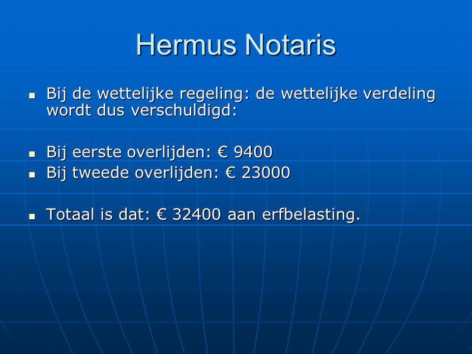 Hermus Notaris Bij de wettelijke regeling: de wettelijke verdeling wordt dus verschuldigd: Bij de wettelijke regeling: de wettelijke verdeling wordt d