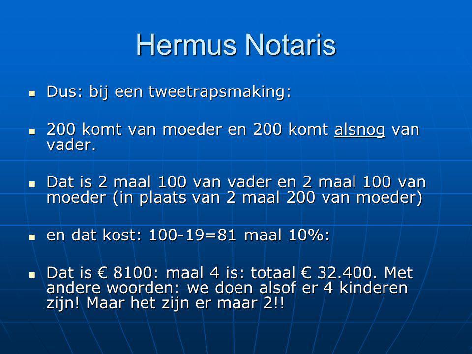 Hermus Notaris Dus: bij een tweetrapsmaking: Dus: bij een tweetrapsmaking: 200 komt van moeder en 200 komt alsnog van vader. 200 komt van moeder en 20