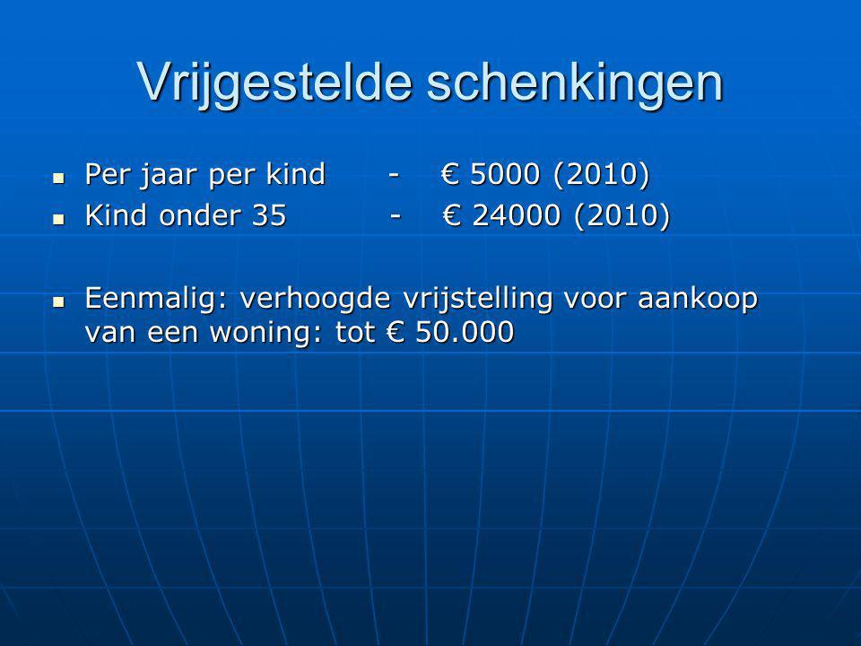 Vrijgestelde schenkingen Per jaar per kind - € 5000 (2010) Per jaar per kind - € 5000 (2010) Kind onder 35 - € 24000 (2010) Kind onder 35 - € 24000 (2010) Eenmalig: verhoogde vrijstelling voor aankoop van een woning: tot € 50.000 Eenmalig: verhoogde vrijstelling voor aankoop van een woning: tot € 50.000