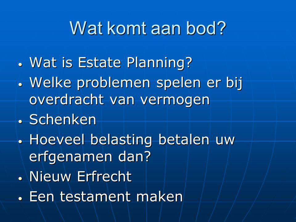 Wat komt aan bod? Wat is Estate Planning? Wat is Estate Planning? Welke problemen spelen er bij overdracht van vermogen Welke problemen spelen er bij
