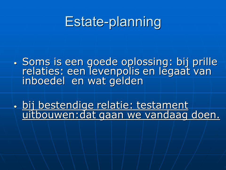 Estate-planning Soms is een goede oplossing: bij prille relaties: een levenpolis en legaat van inboedel en wat gelden Soms is een goede oplossing: bij