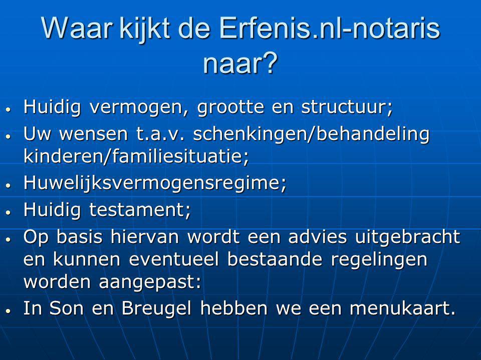 Waar kijkt de Erfenis.nl-notaris naar? Huidig vermogen, grootte en structuur; Huidig vermogen, grootte en structuur; Uw wensen t.a.v. schenkingen/beha