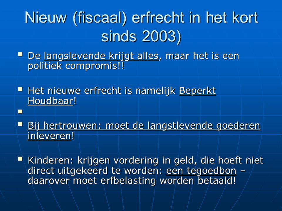 Nieuw (fiscaal) erfrecht in het kort sinds 2003)  De langslevende krijgt alles, maar het is een politiek compromis!!  Het nieuwe erfrecht is namelij