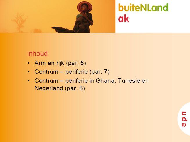 inhoud Arm en rijk (par. 6) Centrum – periferie (par. 7) Centrum – periferie in Ghana, Tunesië en Nederland (par. 8)