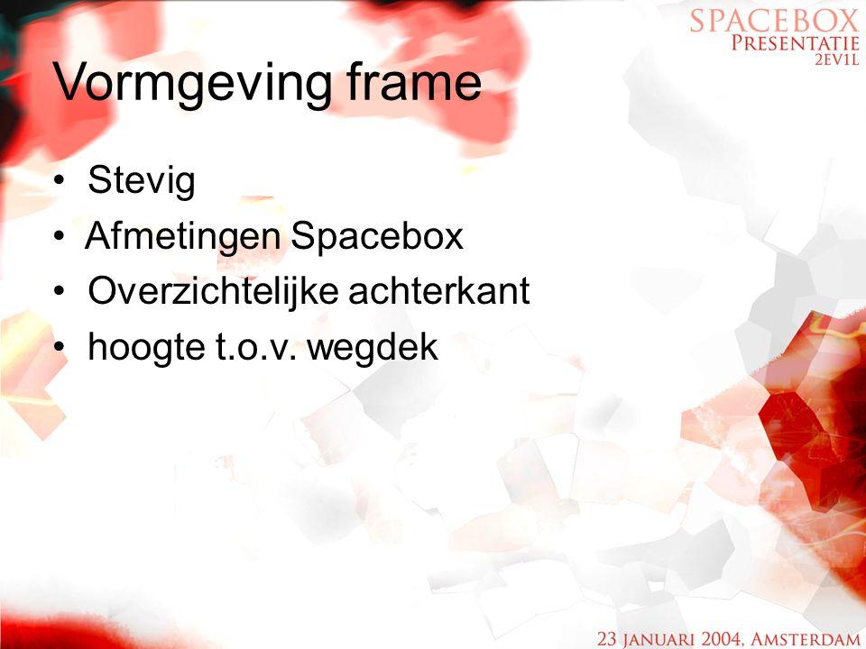 Vormgeving frame Stevig Afmetingen Spacebox Overzichtelijke achterkant hoogte t.o.v. wegdek