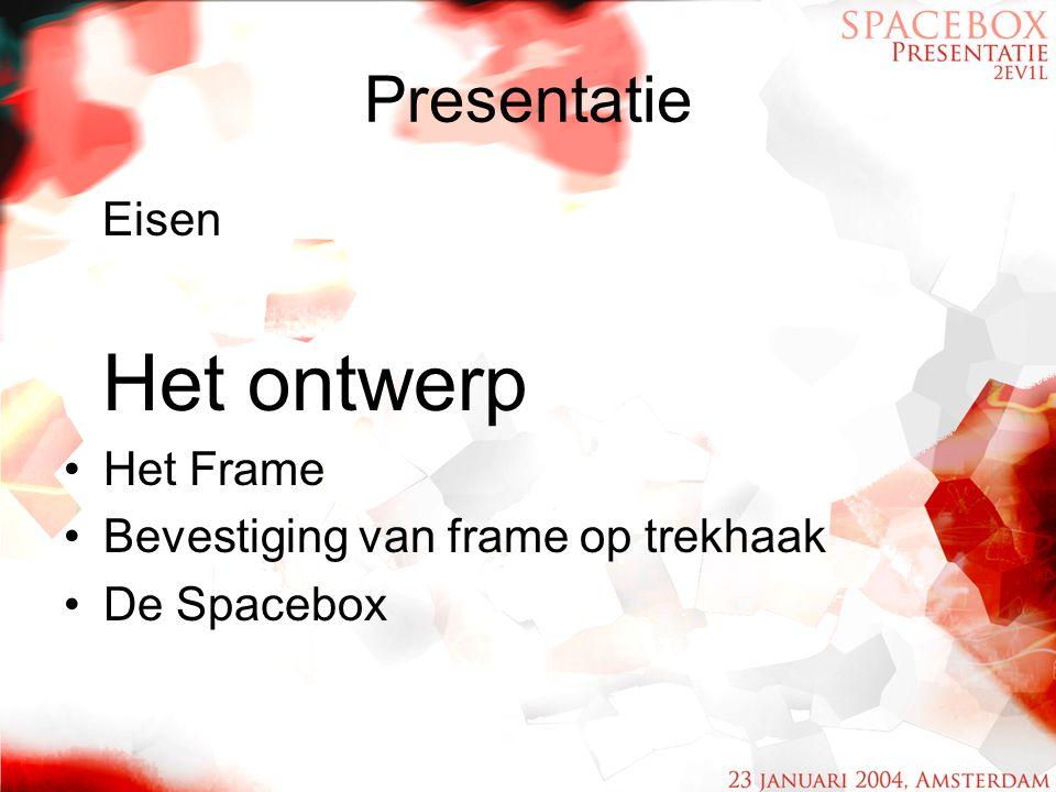 Presentatie Eisen Het ontwerp Het Frame Bevestiging van frame op trekhaak De Spacebox